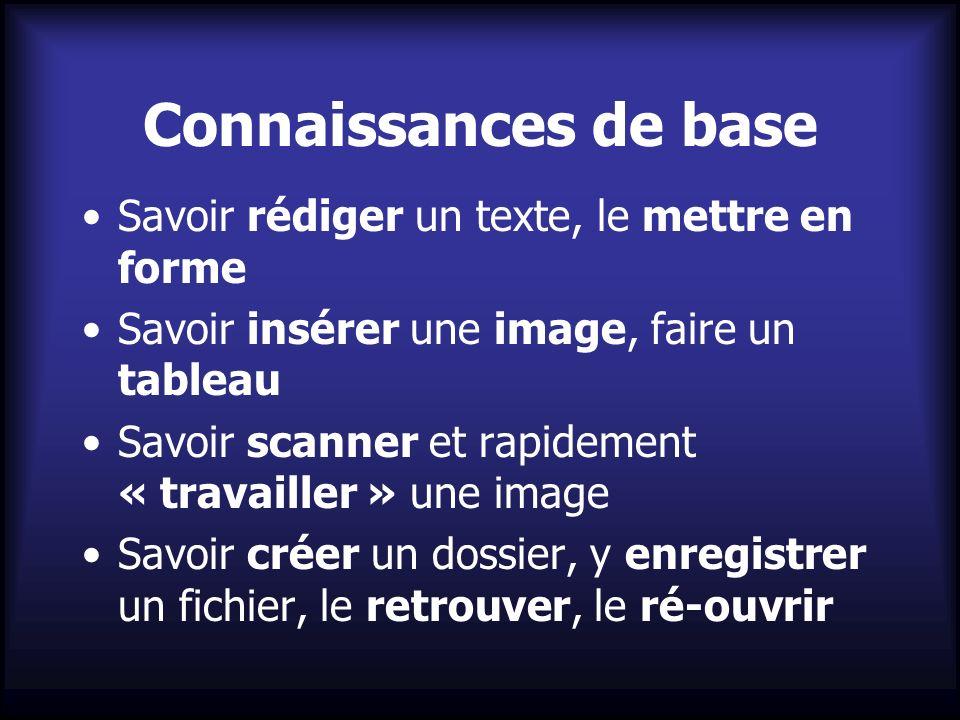 Connaissances de base Savoir rédiger un texte, le mettre en forme Savoir insérer une image, faire un tableau Savoir scanner et rapidement « travailler