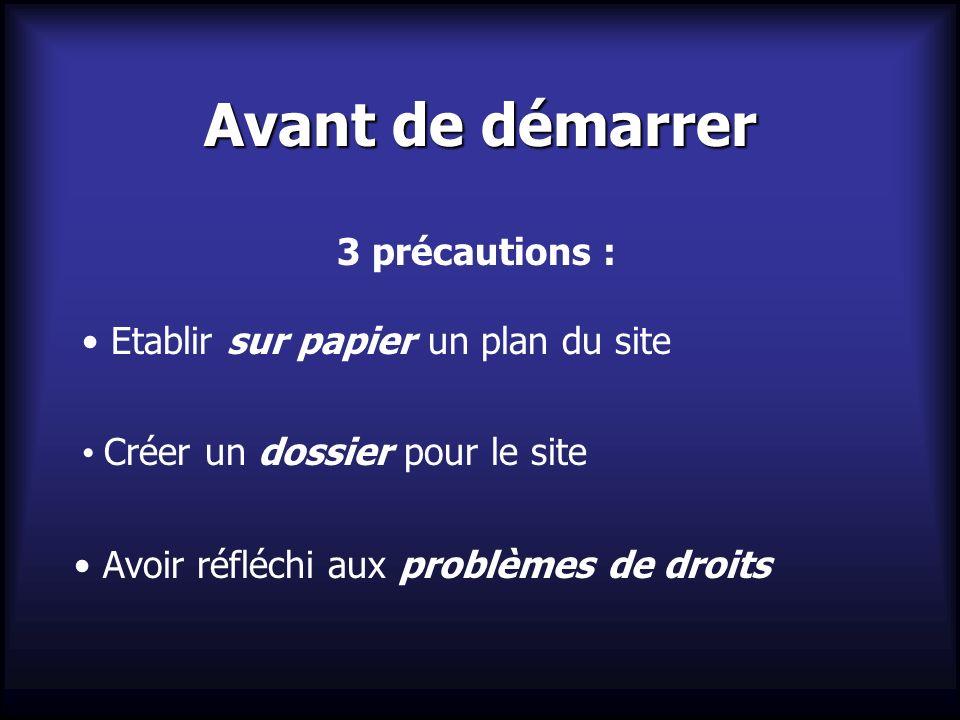 Avant de démarrer 3 précautions : Etablir sur papier un plan du site Créer un dossier pour le site Avoir réfléchi aux problèmes de droits