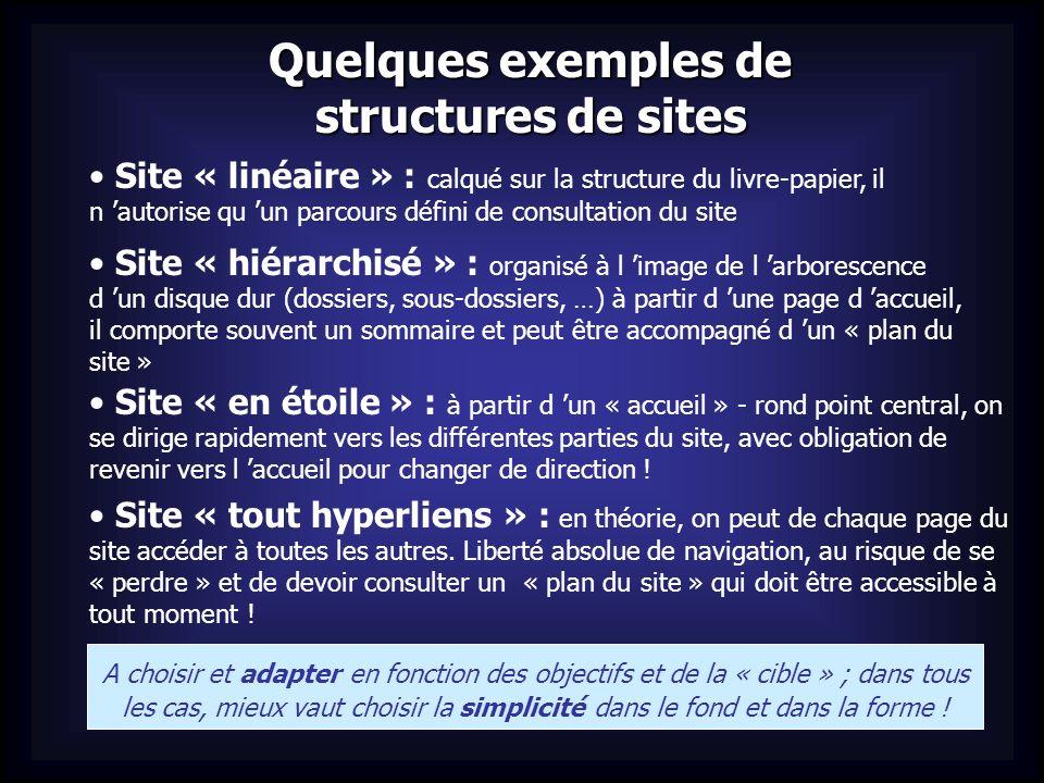 Quelques exemples de structures de sites Site « linéaire » : calqué sur la structure du livre-papier, il n autorise qu un parcours défini de consultat