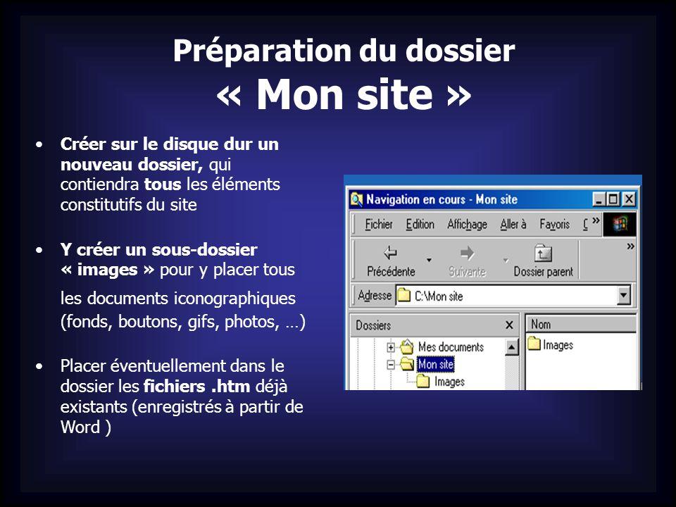 Préparation du dossier « Mon site » Créer sur le disque dur un nouveau dossier, qui contiendra tous les éléments constitutifs du site Y créer un sous-