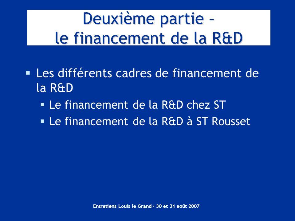 Entretiens Louis le Grand – 30 et 31 août 2007 Les différents cadres de financement de la R&D Le financement de la R&D chez ST Le financement de la R&
