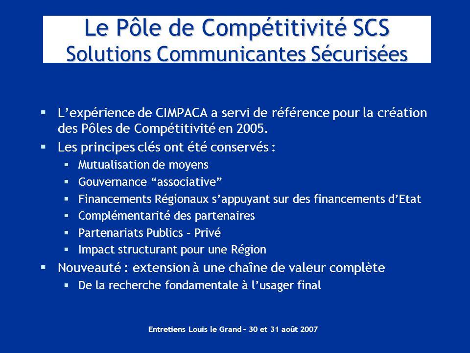 Entretiens Louis le Grand – 30 et 31 août 2007 Le Pôle de Compétitivité SCS Solutions Communicantes Sécurisées Lexpérience de CIMPACA a servi de référ