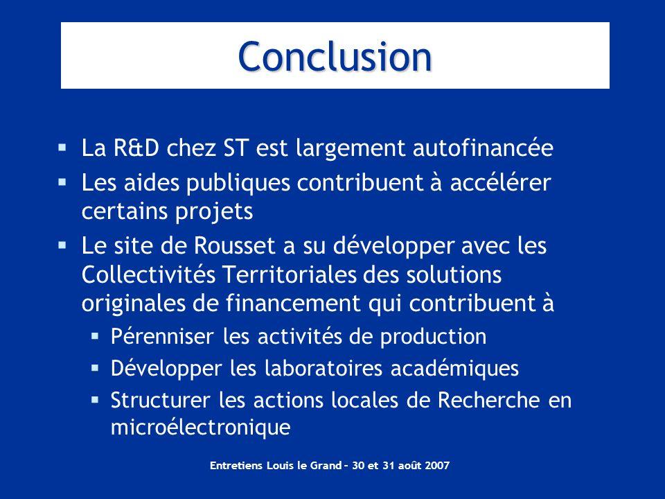 Entretiens Louis le Grand – 30 et 31 août 2007 Conclusion La R&D chez ST est largement autofinancée Les aides publiques contribuent à accélérer certai