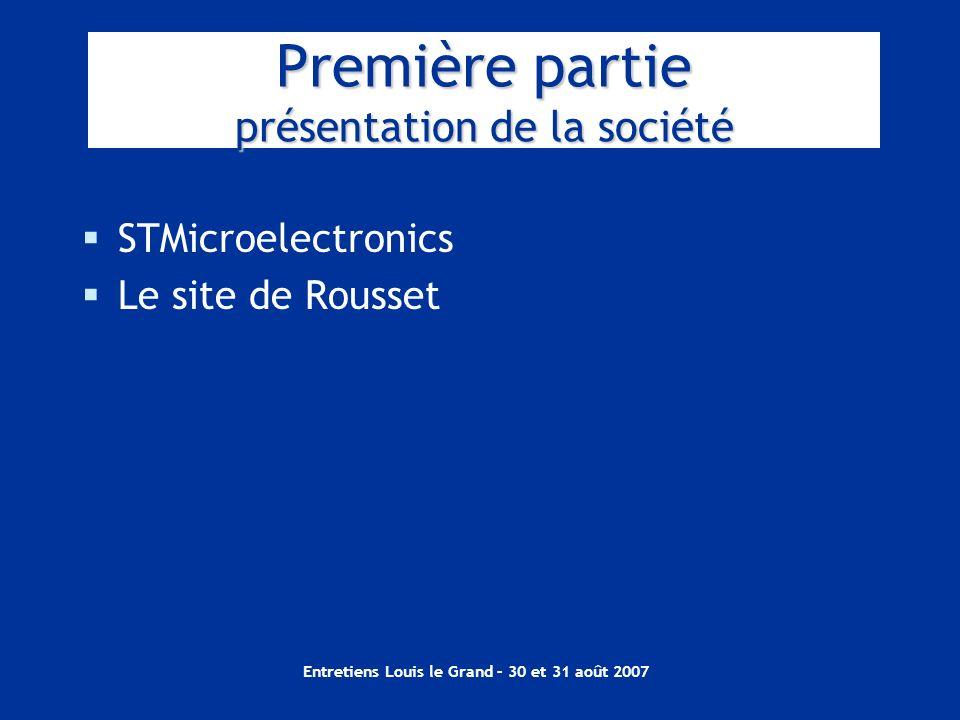 Entretiens Louis le Grand – 30 et 31 août 2007 Première partie présentation de la société STMicroelectronics Le site de Rousset