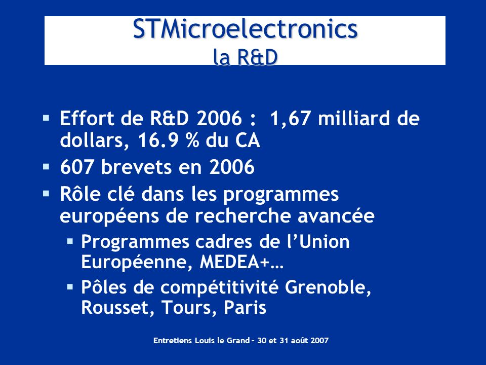 Entretiens Louis le Grand – 30 et 31 août 2007 STMicroelectronics la R&D Effort de R&D 2006 : 1,67 milliard de dollars, 16.9 % du CA 607 brevets en 20