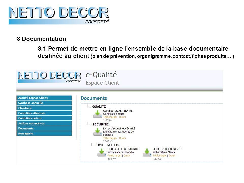 3 Documentation 3.1 Permet de mettre en ligne lensemble de la base documentaire destinée au client (plan de prévention, organigramme, contact, fiches produits….)