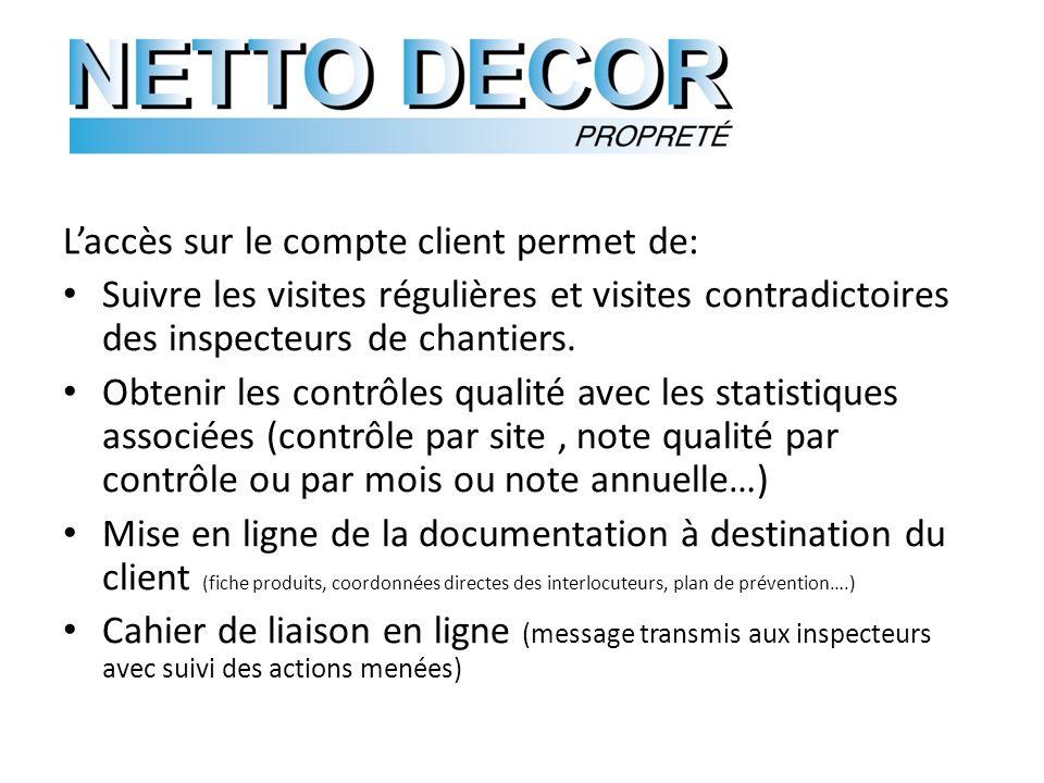 Laccès sur le compte client permet de: Suivre les visites régulières et visites contradictoires des inspecteurs de chantiers.