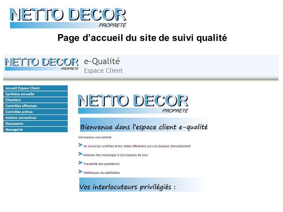 Page daccueil du site de suivi qualité