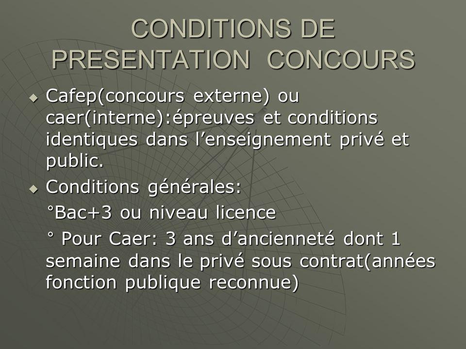 CONDITIONS DE PRESENTATION CONCOURS Cafep(concours externe) ou caer(interne):épreuves et conditions identiques dans lenseignement privé et public.