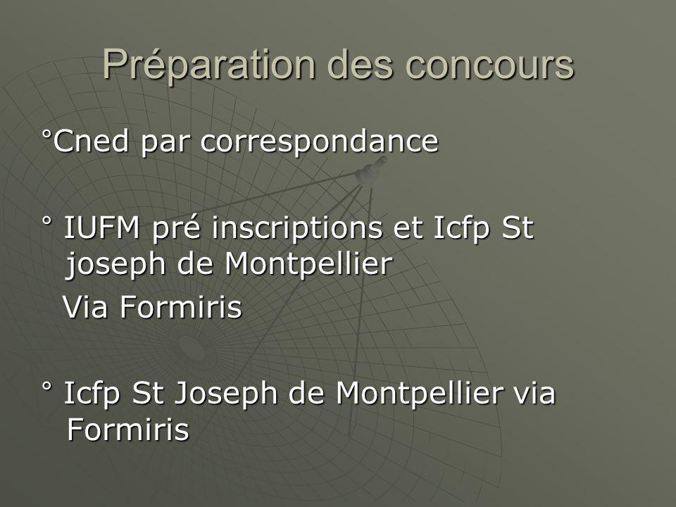 Préparation des concours °Cned par correspondance ° IUFM pré inscriptions et Icfp St joseph de Montpellier Via Formiris Via Formiris ° Icfp St Joseph de Montpellier via Formiris