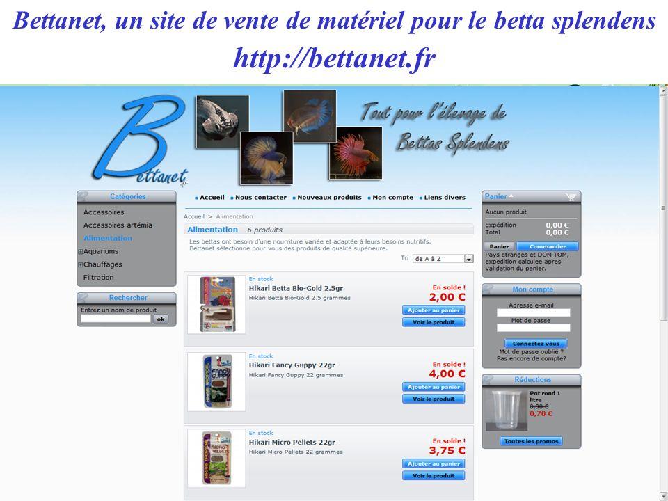 Bettanet, un site de vente de matériel pour le betta splendens http://bettanet.fr