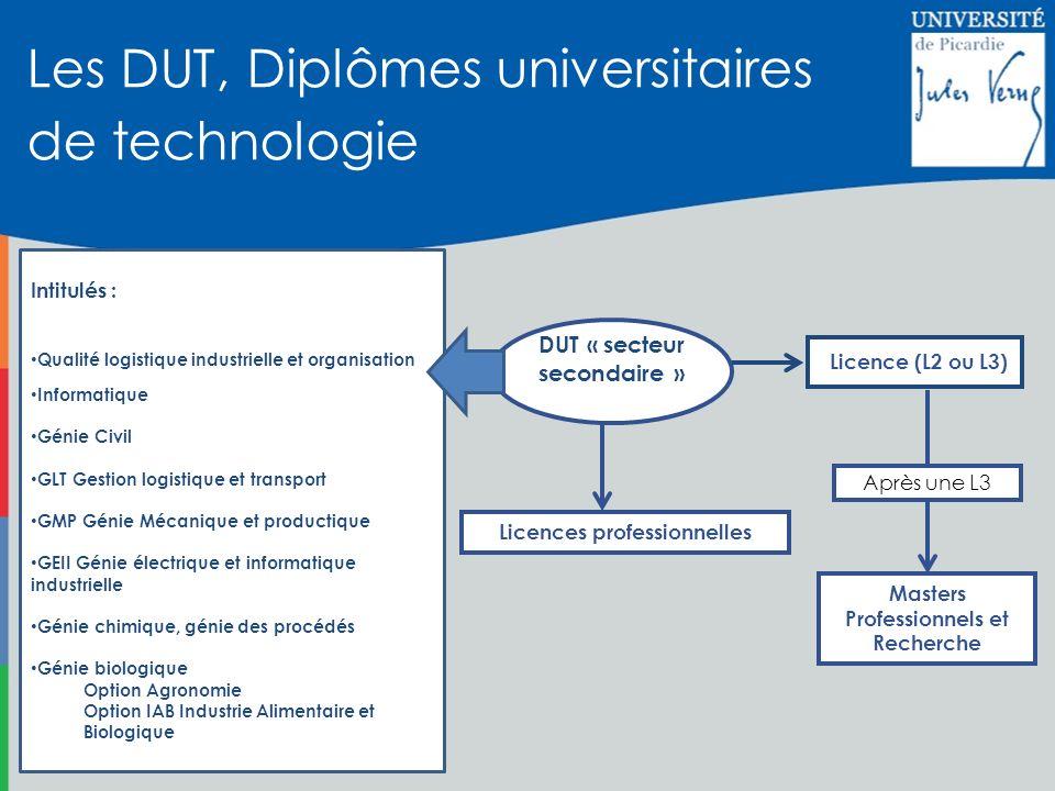 Les DUT, Diplômes universitaires de technologie Licences professionnelles Masters Professionnels et Recherche Licence (L2 ou L3) DUT « secteur seconda