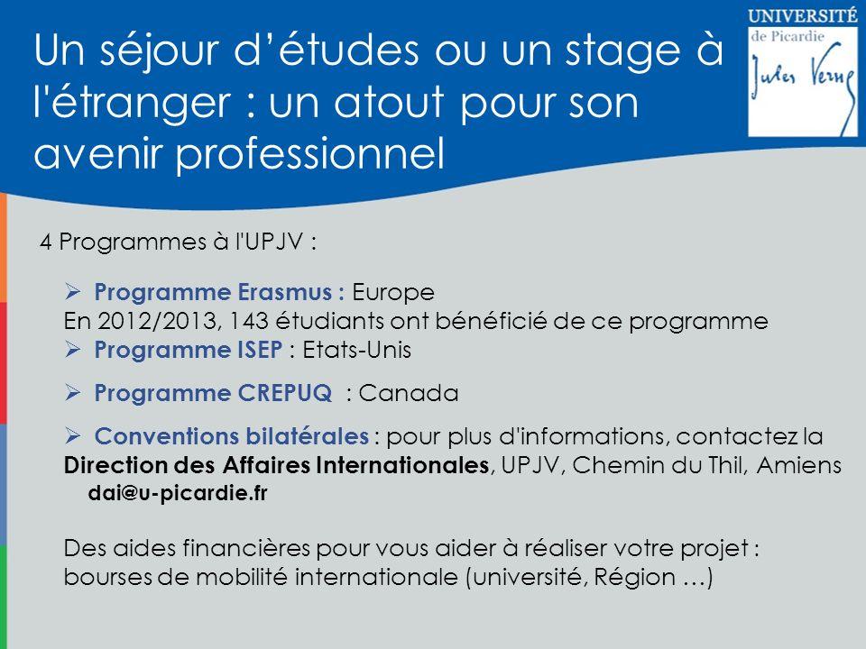 Programme Erasmus : Europe En 2012/2013, 143 étudiants ont bénéficié de ce programme Programme ISEP : Etats-Unis Programme CREPUQ : Canada Conventions