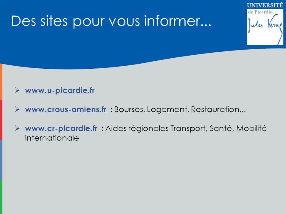 www.u-picardie.fr www.crous-amiens.fr : Bourses, Logement, Restauration... www.cr-picardie.fr : Aides régionales Transport, Santé, Mobilité internatio