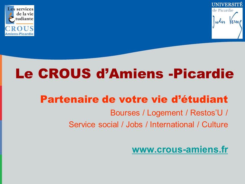 Le CROUS dAmiens -Picardie Partenaire de votre vie détudiant Bourses / Logement / RestosU / Service social / Jobs / International / Culture www.crous-