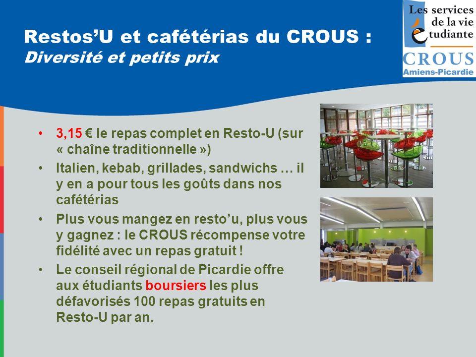RestosU et cafétérias du CROUS : Diversité et petits prix 3,15 le repas complet en Resto-U (sur « chaîne traditionnelle ») Italien, kebab, grillades,