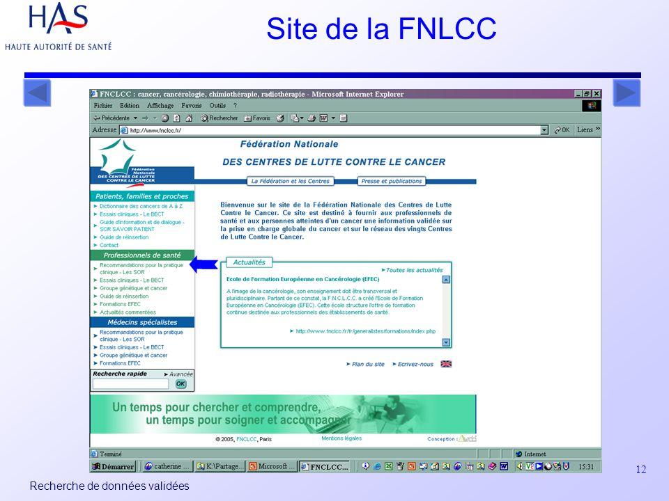 12 Recherche de données validées Site de la FNLCC