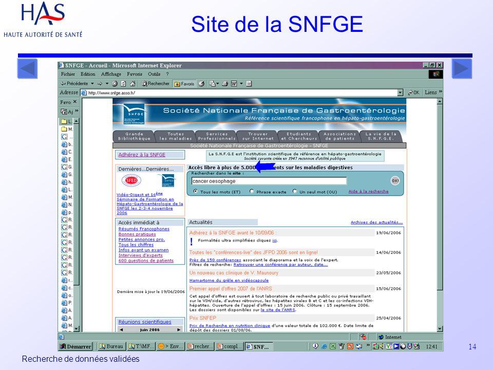 14 Recherche de données validées Site de la SNFGE
