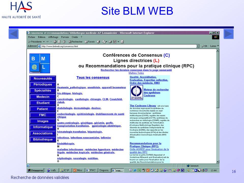 16 Recherche de données validées Site BLM WEB