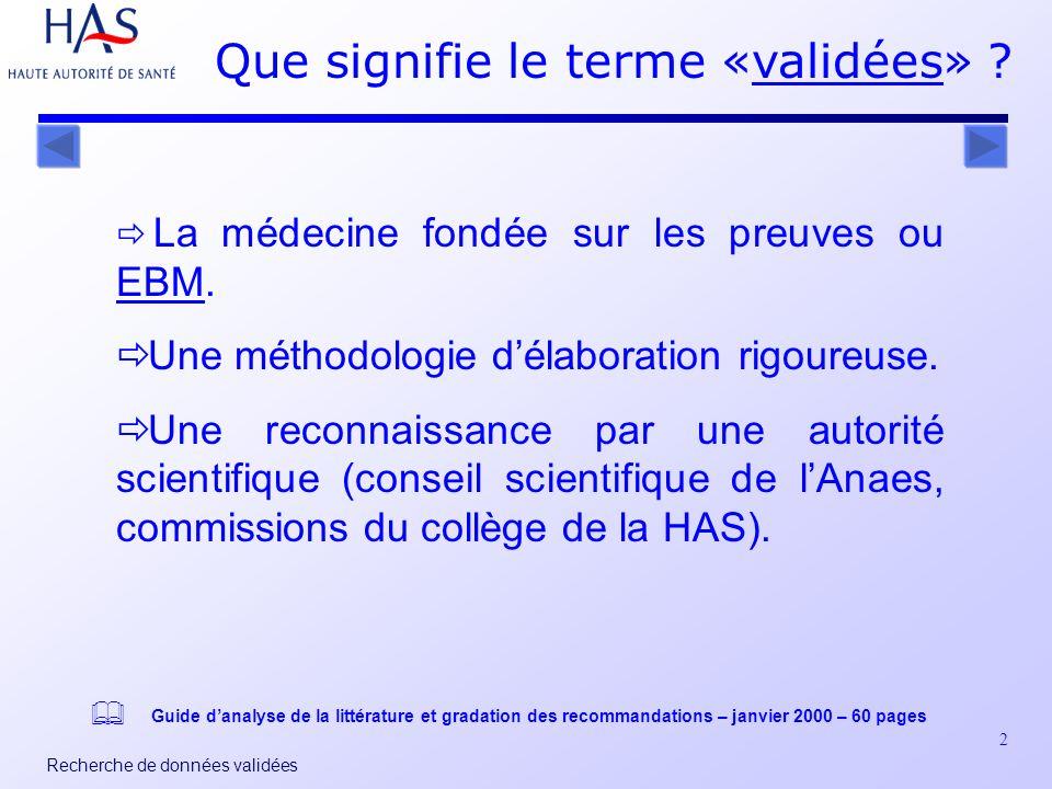 2 Recherche de données validées Que signifie le terme «validées» ?validées La médecine fondée sur les preuves ou EBM.