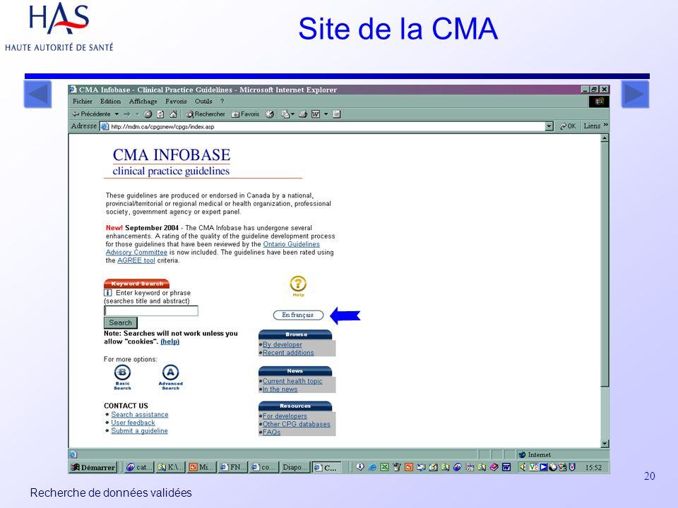 20 Recherche de données validées Site de la CMA
