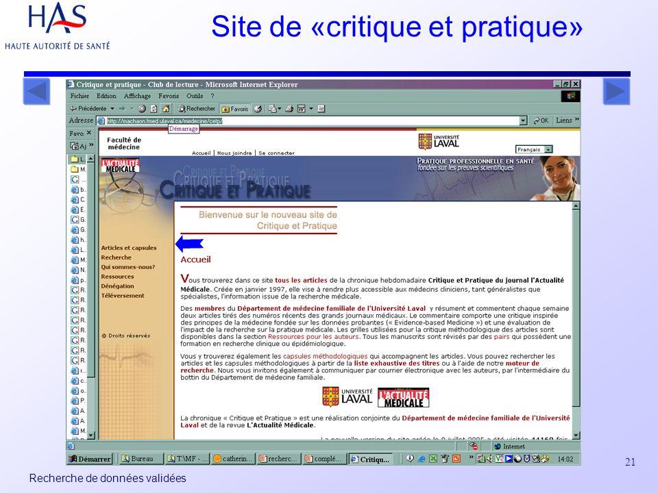 21 Recherche de données validées Site de «critique et pratique»