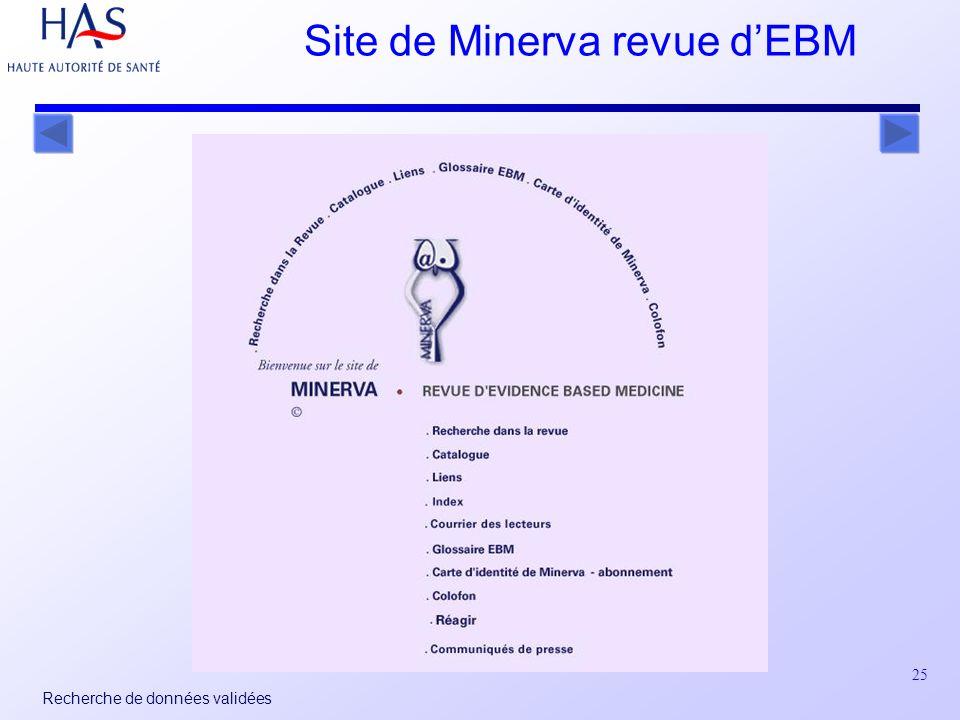 25 Recherche de données validées Site de Minerva revue dEBM
