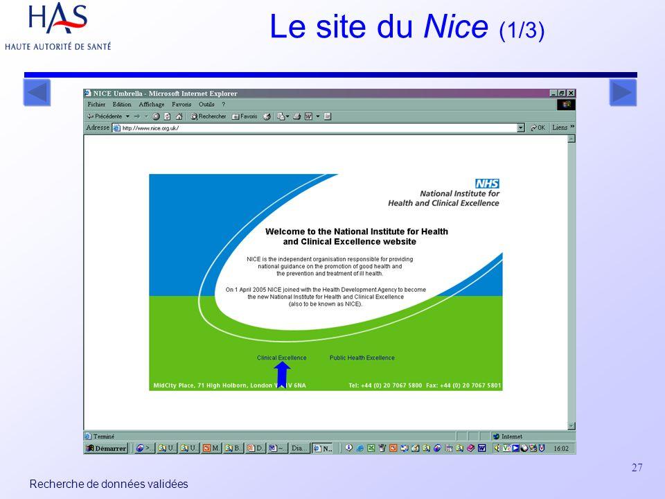 27 Recherche de données validées Le site du Nice (1/3)