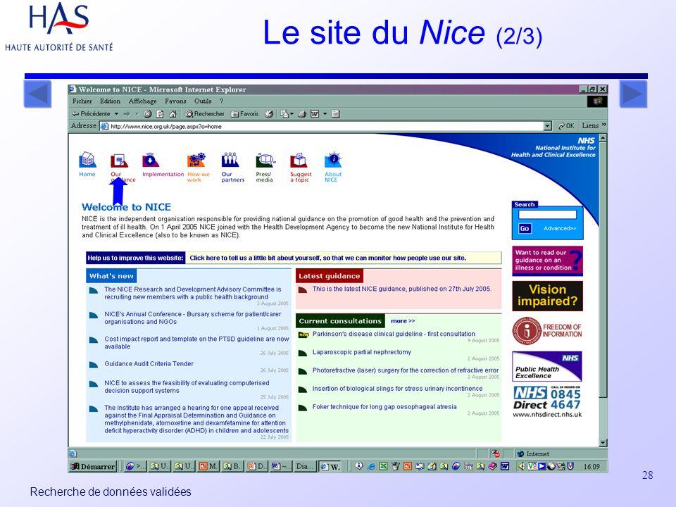 28 Recherche de données validées Le site du Nice (2/3)