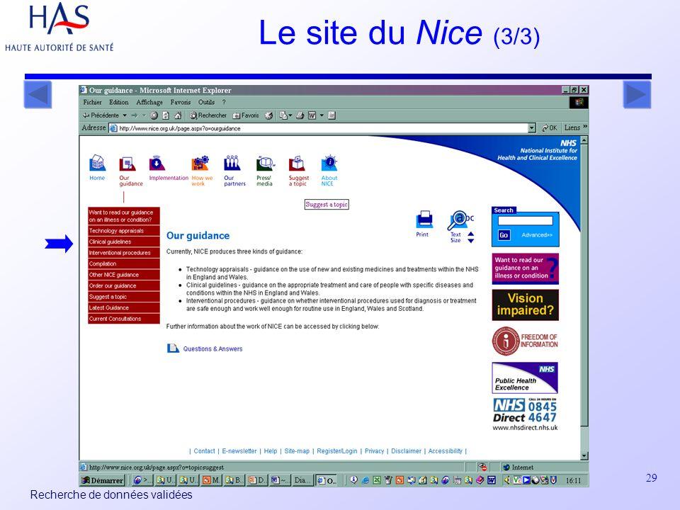 29 Recherche de données validées Le site du Nice (3/3)