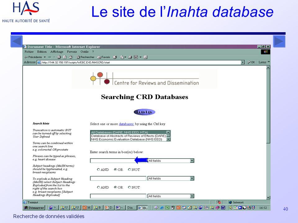 40 Recherche de données validées Le site de lInahta database