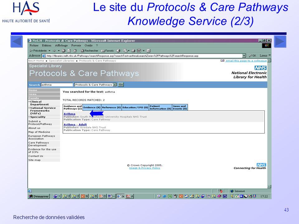 43 Recherche de données validées Le site du Protocols & Care Pathways Knowledge Service (2/3)