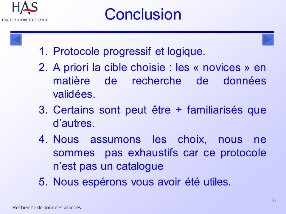 45 Recherche de données validées 1.Protocole progressif et logique.