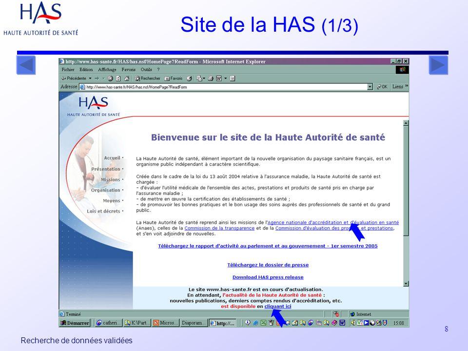 8 Recherche de données validées Site de la HAS (1/3)