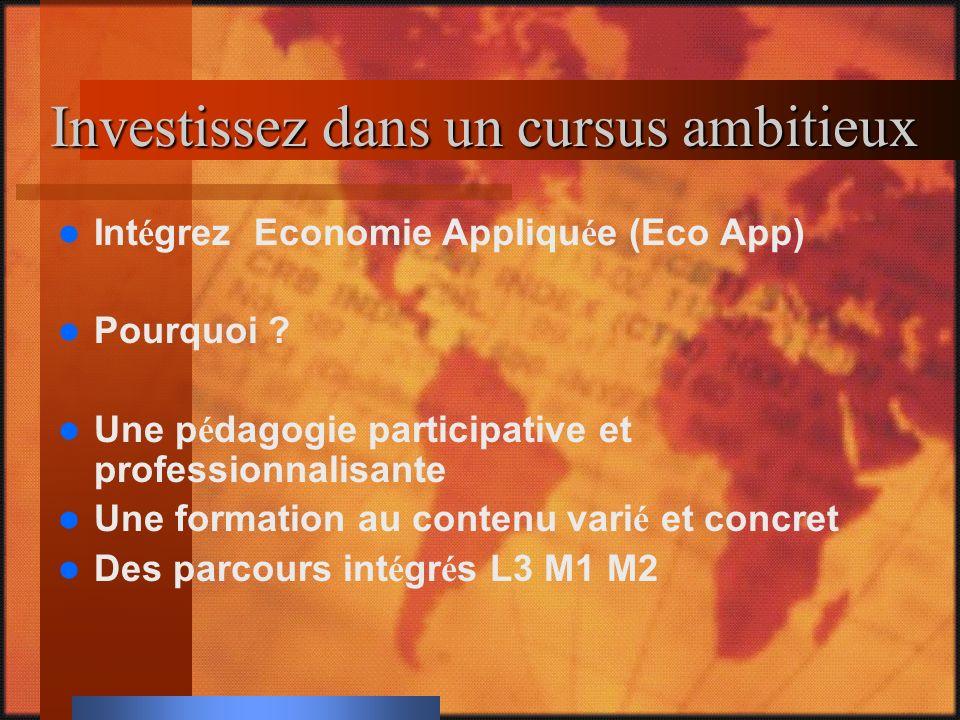 Des parcours L3 M1 intégrés Eco App vous propose 4 parcours : Economie et Ing é nierie Financi è res Economie Internationale et du D é veloppement Economie de l Entreprise et des March é s Economie Quantitative