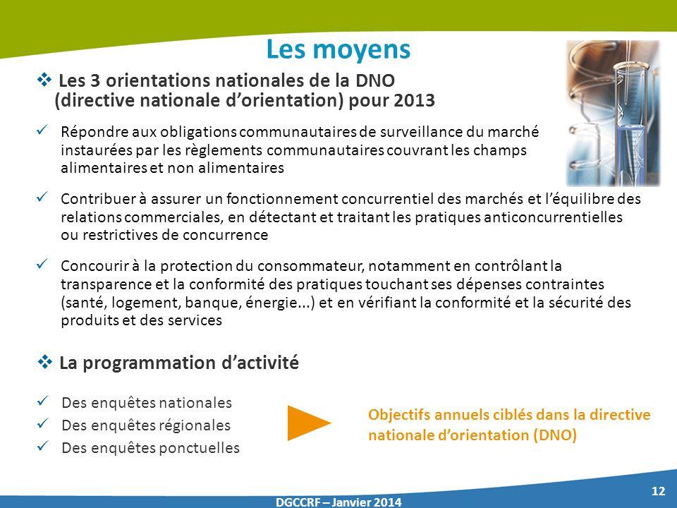 12 DGCCRF – Janvier 2014 Les moyens Les 3 orientations nationales de la DNO (directive nationale dorientation) pour 2013 La programmation dactivité De