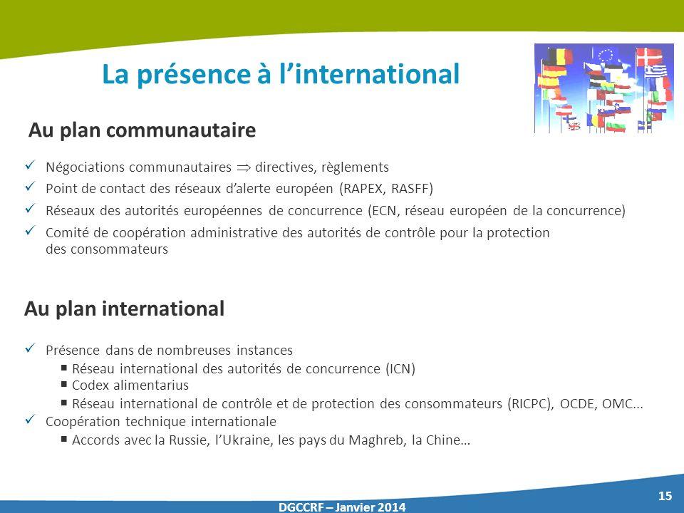 15 DGCCRF – Janvier 2014 La présence à linternational Au plan communautaire Négociations communautaires directives, règlements Point de contact des ré