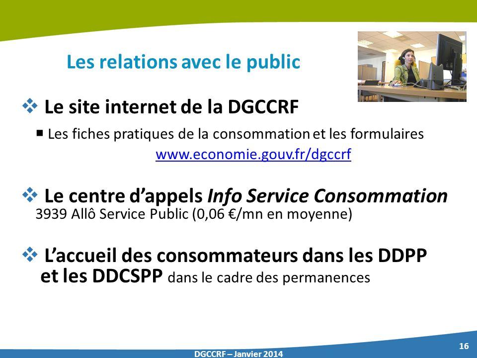 16 DGCCRF – Janvier 2014 Les relations avec le public Le site internet de la DGCCRF Les fiches pratiques de la consommation et les formulaires www.eco