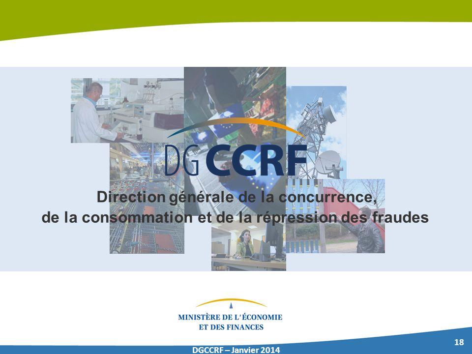 18 DGCCRF – Janvier 2014 Direction générale de la concurrence, de la consommation et de la répression des fraudes