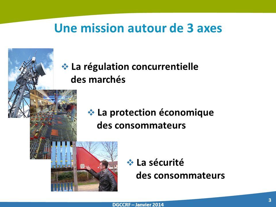 3 DGCCRF – Janvier 2014 Une mission autour de 3 axes La régulation concurrentielle des marchés La protection économique des consommateurs La sécurité