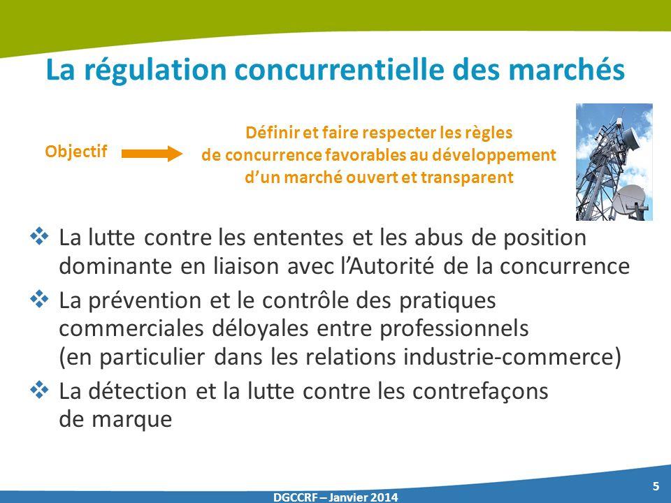 5 DGCCRF – Janvier 2014 La régulation concurrentielle des marchés La lutte contre les ententes et les abus de position dominante en liaison avec lAuto