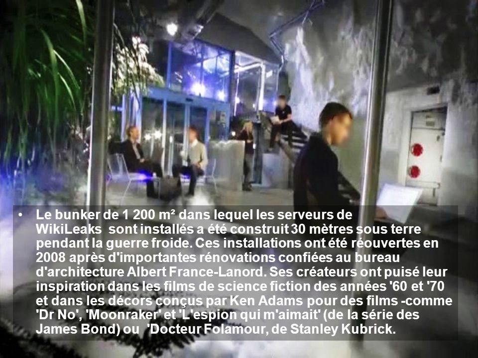Le bunker de 1 200 m² dans lequel les serveurs de WikiLeaks sont installés a été construit 30 mètres sous terre pendant la guerre froide. Ces installa