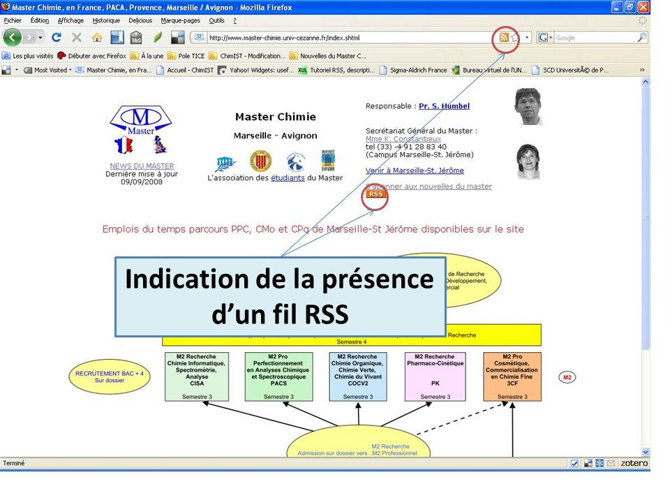 Suivre le fil RSS du Master-Chimie Indication de la présence dun fil RSS