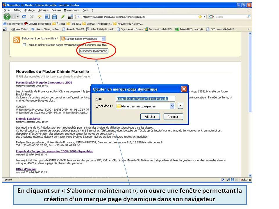 En cliquant sur « Sabonner maintenant », on ouvre une fenêtre permettant la création dun marque page dynamique dans son navigateur
