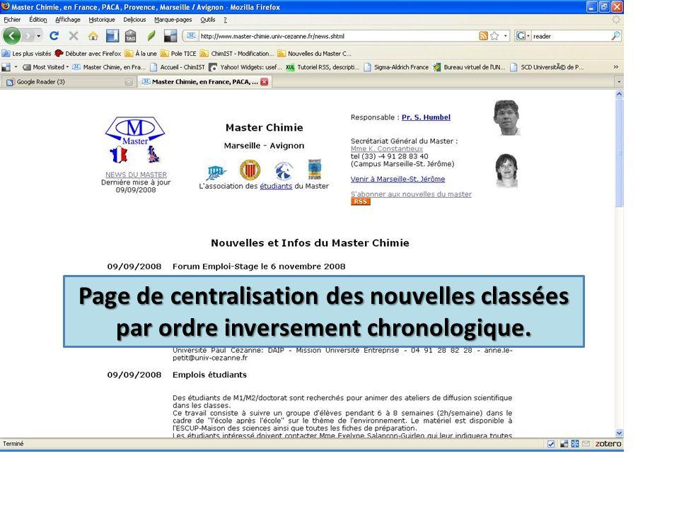 Page de centralisation des nouvelles classées par ordre inversement chronologique.