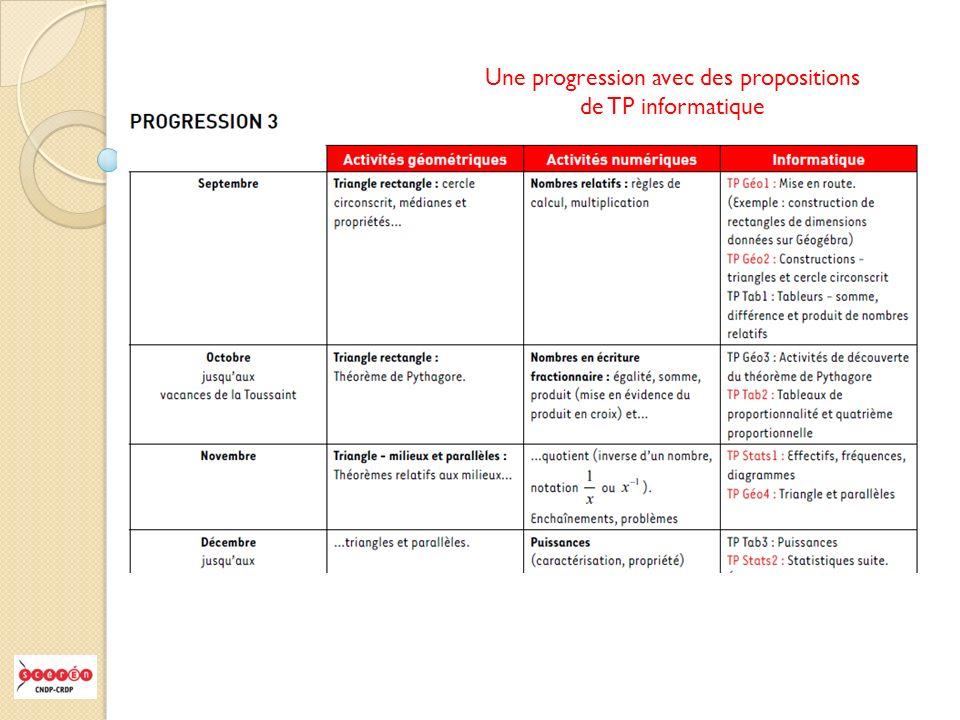 Une progression avec des propositions de TP informatique