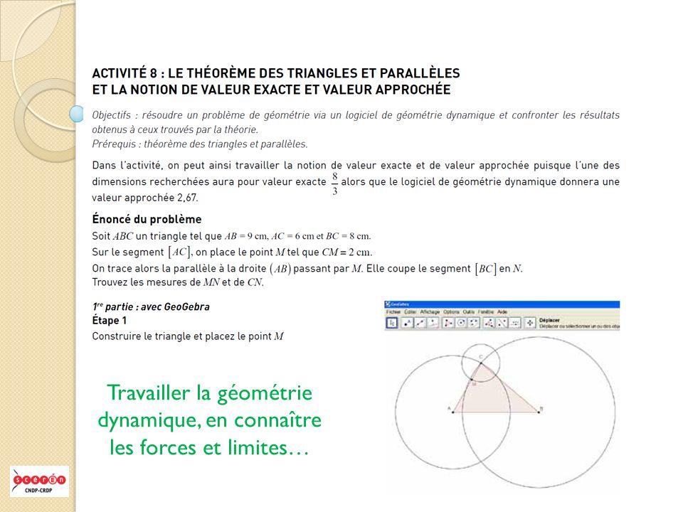 Travailler la géométrie dynamique, en connaître les forces et limites…