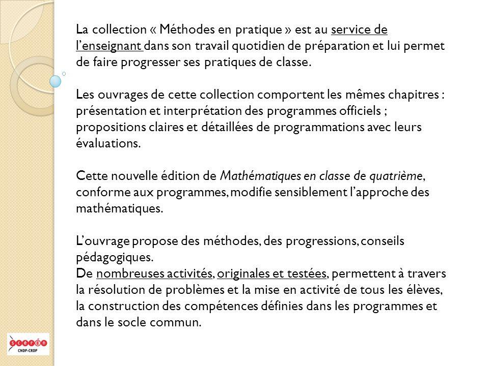 La collection « Méthodes en pratique » est au service de lenseignant dans son travail quotidien de préparation et lui permet de faire progresser ses p