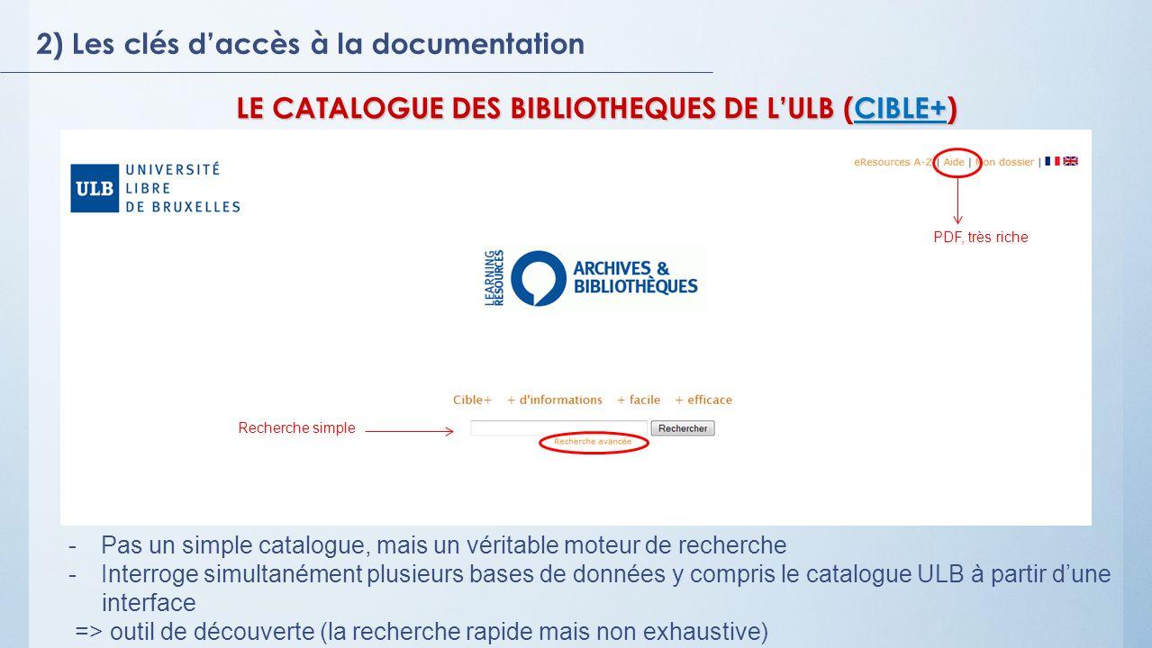 2) Les clés daccès à la documentation LE CATALOGUE DES BIBLIOTHEQUES DE LULB (CIBLE+) CIBLE+ Recherche simple PDF, très riche -Pas un simple catalogue, mais un véritable moteur de recherche -Interroge simultanément plusieurs bases de données y compris le catalogue ULB à partir dune interface => outil de découverte (la recherche rapide mais non exhaustive)