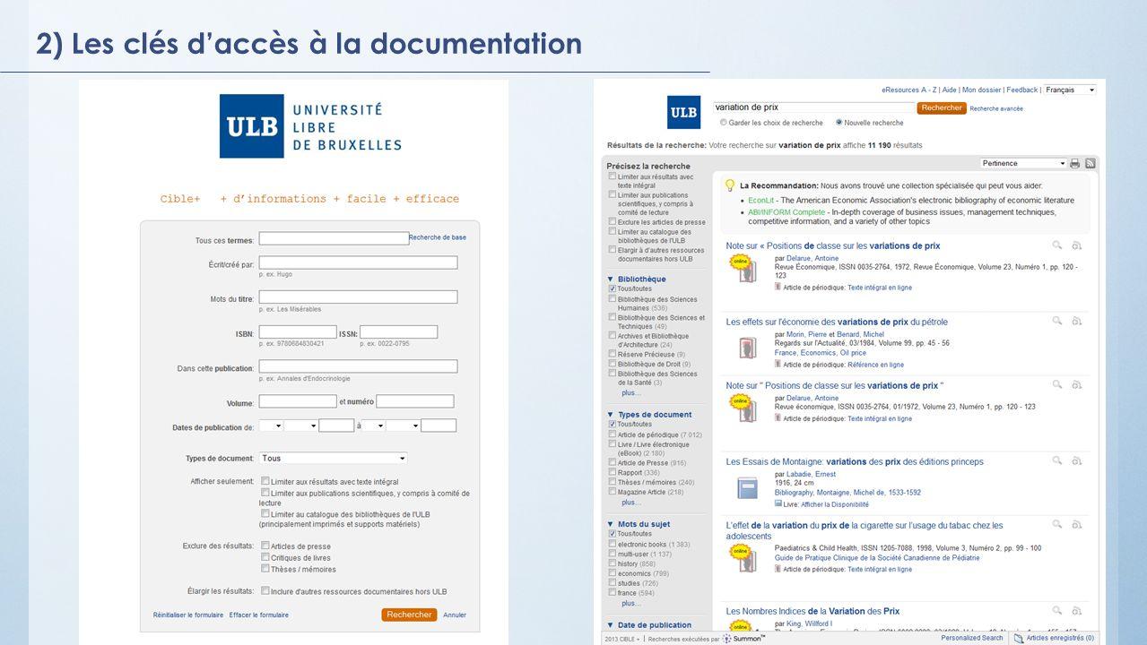 2) Les clés daccès à la documentation